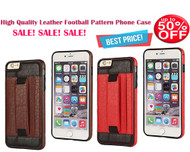 Best Combo Offer Pack of 2 !! High Quality Football Pattern Leather Case for iPhone 6 Plus / 6S Plus - Red, Brown