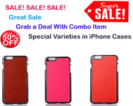 (Pack of 3) Latest Phone Cases for iPhone 6 Plus/  6S Plus : Hard Back Lightweight Leather Case for iPhone 6 Plus / 6S Plus -  Pink, Brown, Red