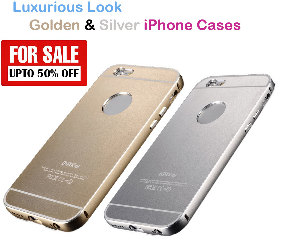big sale 2d3bc b0530 Pack of 2 : Full Metal Ultra thin Aluminium Case for iPhone 6/6S -  Champagne Gold, Silver