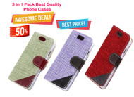 Combo Pack of 3 : Jute Book High Quality Stylish Leather Case with Stand, Card for iPhone 6 Plus / 6S Plus - Ruby Red, Pistachio, Lavender