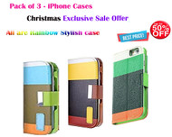 (Pack of 3) Exclusive Combo Offer UPTO 50% OFF : Fansy Rainbow Multiple Style PU Leather Flip Cover with Card Slot for iPhone 6 Plus / 6S Plus