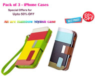 (Pack of 2) Exclusive Combo Offer UPTO 50% OFF : Fansy Rainbow Multiple Style PU Leather Flip Cover with Card Slot for iPhone 6 Plus / 6S Plus