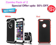 (Pack of 2) : Football Pattern Silicone PC Case for iPhone 6 / 6S  - White, Red