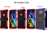 (Pack of 3) New Combo Deals : 2 in 1 Silicone PC Hybrid Shockproof Hard Heavy Duty Armor Case With Stand For iPhone 6/6S  - Purple, Red, Orange