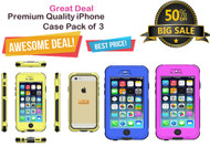 Exclusive Combo Offer (Pack of 3) : Universal Shockproof Waterproof Case for iPhone 6/6S - Pink, Blue, Yellow