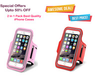 Combo Deals : Sports Armband Case Waterproof adjustable running gym bag for iPhone 6/6S With Key Holder - Red, Pink