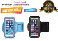 Sports Armband Case Wateproof Adjustable Running Gym Bag for iPhone 6/S With Key Holder - Black, Light Blue - Special Offer - (Pack of 2)