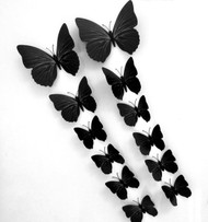 12PC Home 3D Butterfly Wall Stickers With Magnet, Simple Bright Design Of Butterfly, for Decoration Kids room, Bedroom, Tv, Fridge (Black)