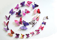 12PC Home 3D Removable Butterfly Wall Stickers With Magnet - Purple Pattern