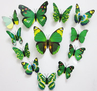 Removable Simple Bright Design 12PC Of 3D Butterfly Stickers With Magnet,  For Decoration Kids Room,Fridge - Green Pattern