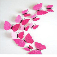 Home 3D Removable Butterfly Wall Stickers For Wall,Tv,Fridge - Pink Pattern 12 PC