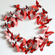12PC Removable Home 3D Butterfly Wall Stickers With Magnet - Red Pattern