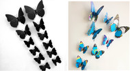3D Butterfly Wall Stickers with Magnet, Attractive Designs for decoration of room,bedroom,tv,fridge - Black,Blue Pattern