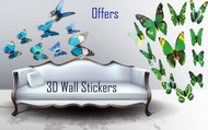 3D Butterfly Wall Stickers with Magnet, Attractive Designs for decoration of room,bedroom,tv,fridge - Blue, Green Pattern