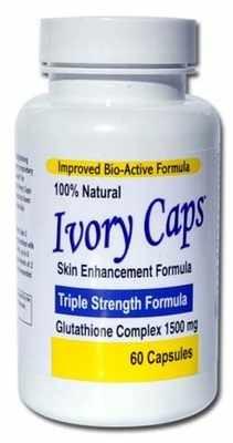 "Bottle - 60 Capsules, 1 Month Supply - Maximum Potency Ivory Caps 1500 mg Glutathione ""Skin Essentials"" Skin Lightening Supplement"