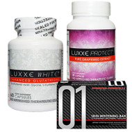 Luxxe White New Enhanced Glutathione & Luxxe Protect Pure Grapeseed Extract & 01 Skin Whitening Soap Bar - Set