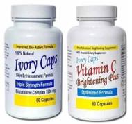 Ivory Caps Skin Whitening Lightening Support Pill + Vitamin C Brightening Plus