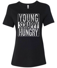 You know I'm just like my country. I'm young, scrappy, and hungry. Distressed graphic tee.