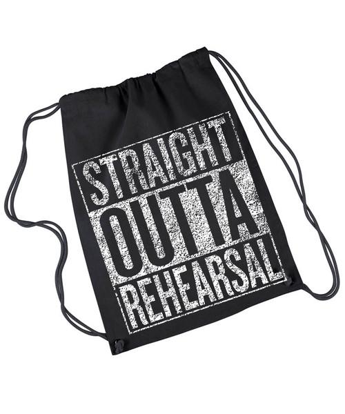 Straight Outta Rehearsal canvas drawstring rehearsal bag.