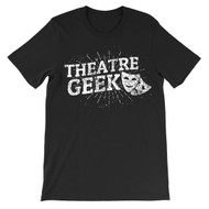 """Theatre Geek"" with drama masks distressed graphic tee."