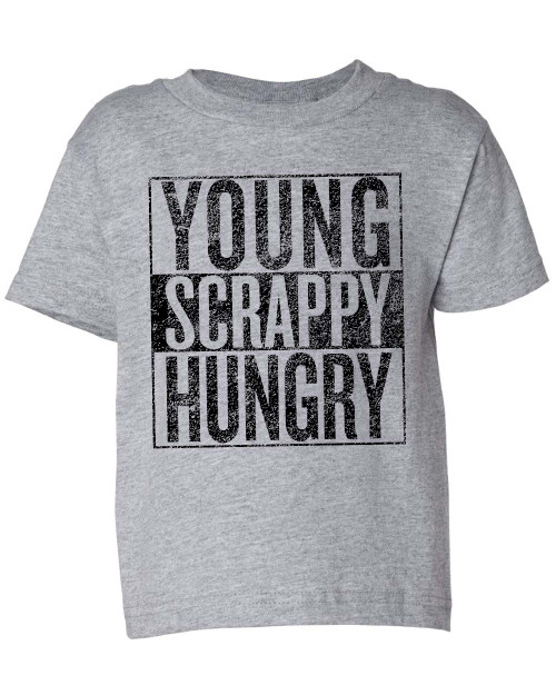 Young scrappy and hungry infant baby toddler t-shirt graphic tee.