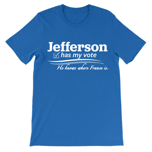 Jefferson has my vote.  He knows where France is.  Hamilton t-shirt.