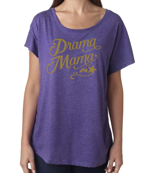 Drama Mama - Women's Relaxed Drapy Dolman Triblend Tee - Purple