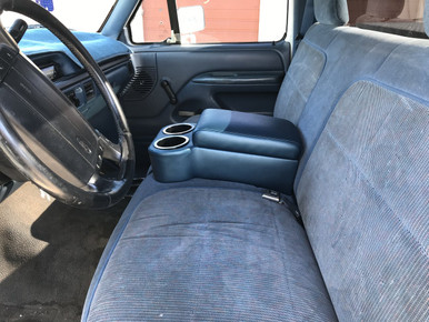 Custom Blue Bench seat console with cup holders  installed in 1996 Ford F150 truck December 2019 sold by Highway Stars