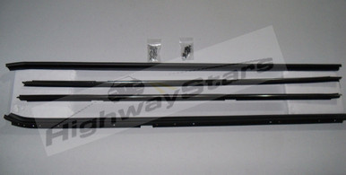 Complete 4 pc set Buick Grand national belt moldings dew sweeps with FREE screws and rivets