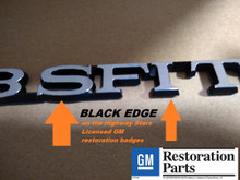 Licensed GM restoration 3.8 SFI hood badge GM#25519633 for Grand National with exact factory correct connecting sections sold by Highway Stars