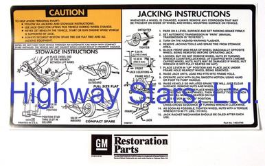 Licensed GM Restoration Vehick Jack usage Label #14034746 LGM