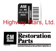 Licensed GM Restoration Air cleaner label for Buick Turbo Regal Grand National GNX  #35095331 LGM