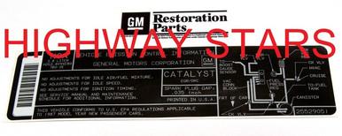 Licensed GM Restoration Emission Label for 1987 Buick Turbo Regal Grand National GNX #25529051 LGM