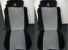 Interior-1985-1987 Grand National Seat covers-Front Buckets made w/Black & Gray EXCLUSIVE MATERIAL w/TURBO 6 Headrests