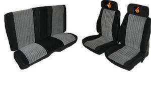 1987 Grand National velour seat covers sold by Highway Stars includes the embroidered headrests.