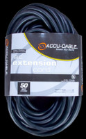 Accu Cable Black AC Grounded Extension Cord - 50 FT 16 Gauge