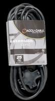 Accu Cable Black Extension Cord / Triple Tap - 25 FT 12 Gauge