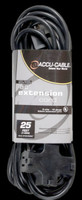 Accu Cable Black Extension Cord With Triple Tap - 25 FT 16 Gauge
