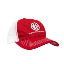 du Pont Krieghoff Unstructured Hat, Red w/ White Mesh Back, White Logo