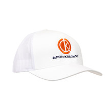 du Pont Krieghoff Trucker Hat, White with White Back, Orange Logo