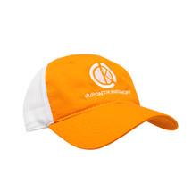 du Pont Krieghoff Unstructured Hat, Orange with White Mesh Back, White Logo