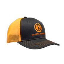 du Pont Krieghoff Trucker Hat, Charcoal with Orange Back, Orange Logo