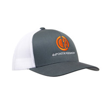 du Pont Krieghoff Trucker Hat, Grey with White Back, Orange Logo