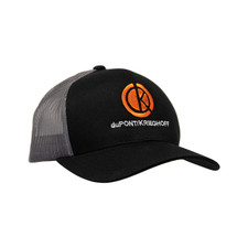 du Pont Krieghoff Trucker Hat, Black with Charcoal Back, Orange Logo