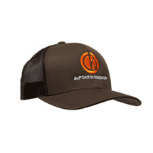 du Pont Krieghoff Trucker Hat, Brown with Brown Back, Orange Logo
