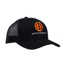 du Pont Krieghoff Trucker Hat, Black with Black Back, Orange Logo