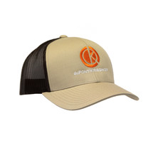 du Pont Krieghoff Trucker Hat, Khaki with Black Back, Orange Logo