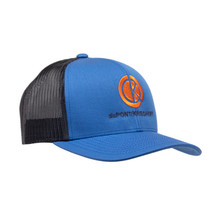 du Pont Krieghoff Trucker Hat, Blue with Grey Back, Orange Logo
