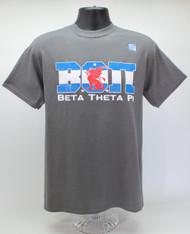 Beta Theta Pi Fraternity Flag T-Shirt Charcoal Grey