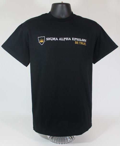 Sigma Alpha Epsilon Fraternity Lion T-Shirt Black -Front